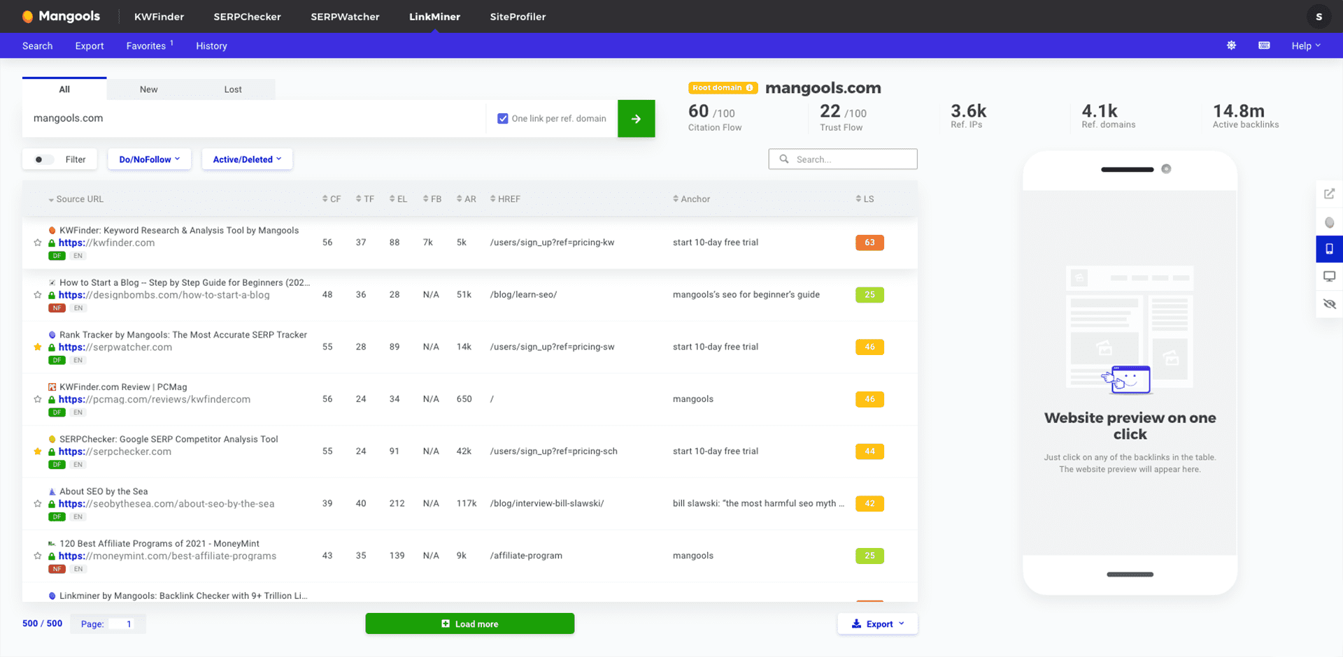 Screenshot of LinkMiner app